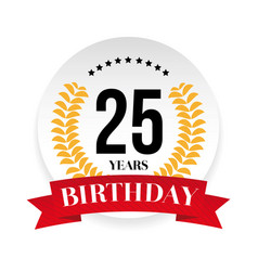 Twentyfifth birthday badge label vector