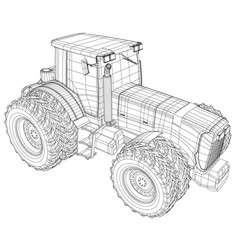wheeled tractor isolated on white vector image