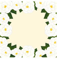 White camellia flower frame border vector