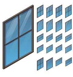 windows in isometric view vector image