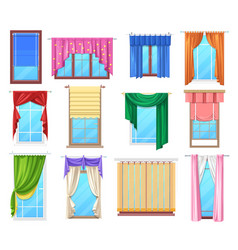 Windows with curtains and jalousie interior vector