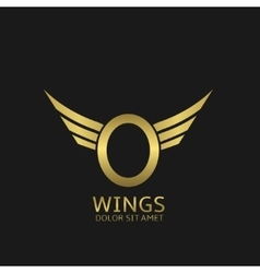 Wings O letter logo vector