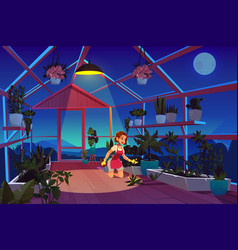 Woman in greenhouse at night time care plants vector
