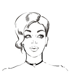 Woman with short hairstyle young beautiful vector