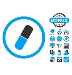 Capsule Flat Icon with Bonus vector image