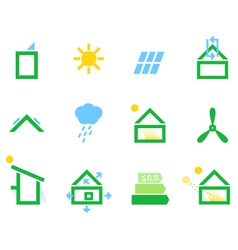 Passive house icons isolated on white vector image vector image