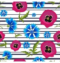 Pattern with PoppiesCornflowers and stripes-01 vector image vector image