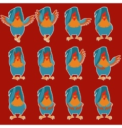 Set of Rooster flat icons vector image