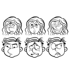 six different emotions on human faces vector image