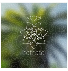 tropical yoga retreat realistic banner with vector image vector image