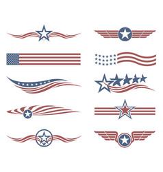 usa flag set vector image
