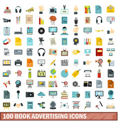 100 book advertising icons set flat style vector image vector image