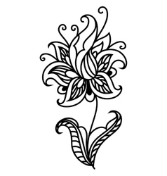 Dainty outline black floral motif vector image