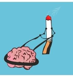 smoke cigarettes control brain addiction vector image