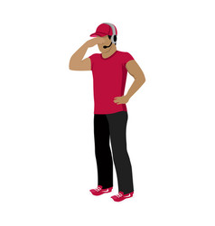 Cartoon icon referee in red and black uniform vector