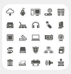 Computer Hardware icons set vector image