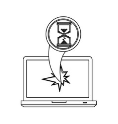 figure computer hourglass cursor with hole icon vector image vector image