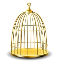 Golden bird cage vector image
