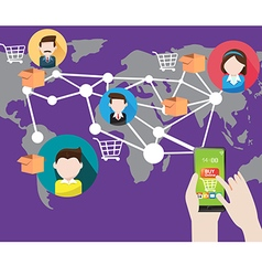 online shopping with smart phone in Social vector image