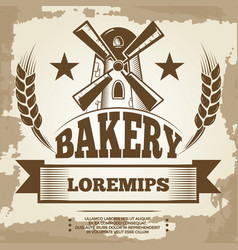 vintage bakery poster design - bakery label with vector image