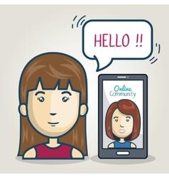 woman smartphone community online bubble speech vector image vector image