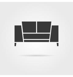 black sofa icon with shadow vector image