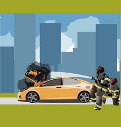 car fire icon with fireman vector image vector image