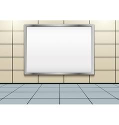 Empty mockup billboard inside metro or subway vector image vector image