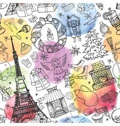 Paris winterchristmas seamless patternWatercolor vector image