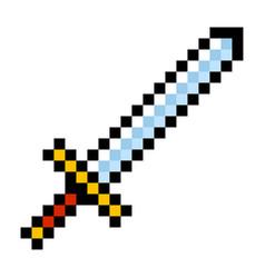 pixel video game sword icon cartoon retro game vector image