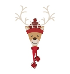 Reindeer head with christmas woolen hat and scarf vector