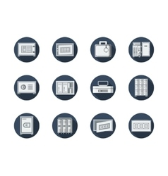 Safe box and locker round blue flat icons vector image vector image