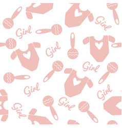 seamless pattern with overall and rattle vector image vector image