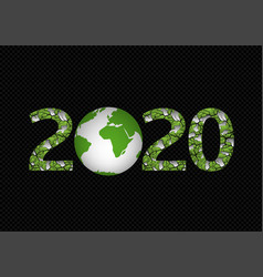 2020 green planet vector image