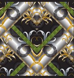 3d modern greek key seamless pattern geometric vector image