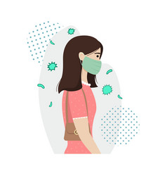 a girl in a protective medical mask protects vector image