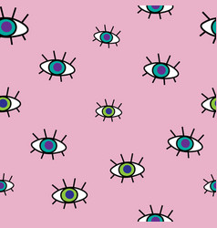 abstract seamless pattern of cartoon eyes hipster vector image