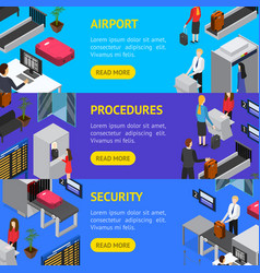 airport security check-in banner horizontal set vector image