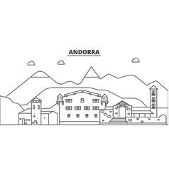 Andorra architecture line skyline vector