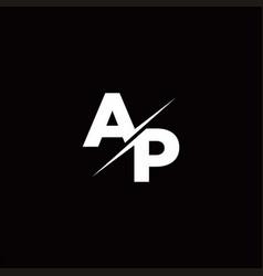 Ap logo letter monogram slash with modern logo vector