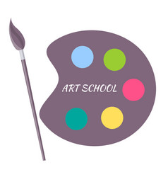Art school paints color palette with brush vector