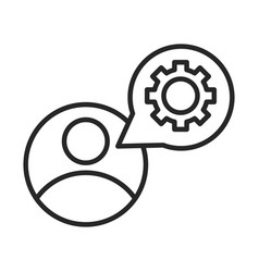 Avatar gear setting speech bubble line style icon vector