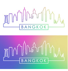 Bangkok skyline colorful linear style editable vector