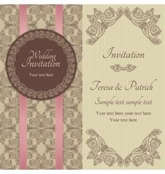 Baroque wedding invitation brown and beige vector