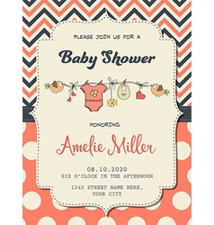 Beautiful baby girl shower card vector