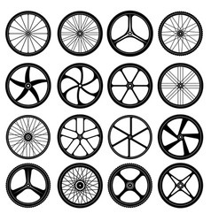 bicycle wheels tires silhouettes bike wheels with vector image