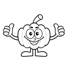 Black and white pumpkin mascot thumb up gesture vector