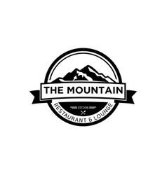 Black and white vintage mountain logo vector