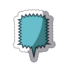 Blue sticker square callout scream for dialogue vector