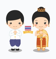 Boy and girl in thai costume vector
